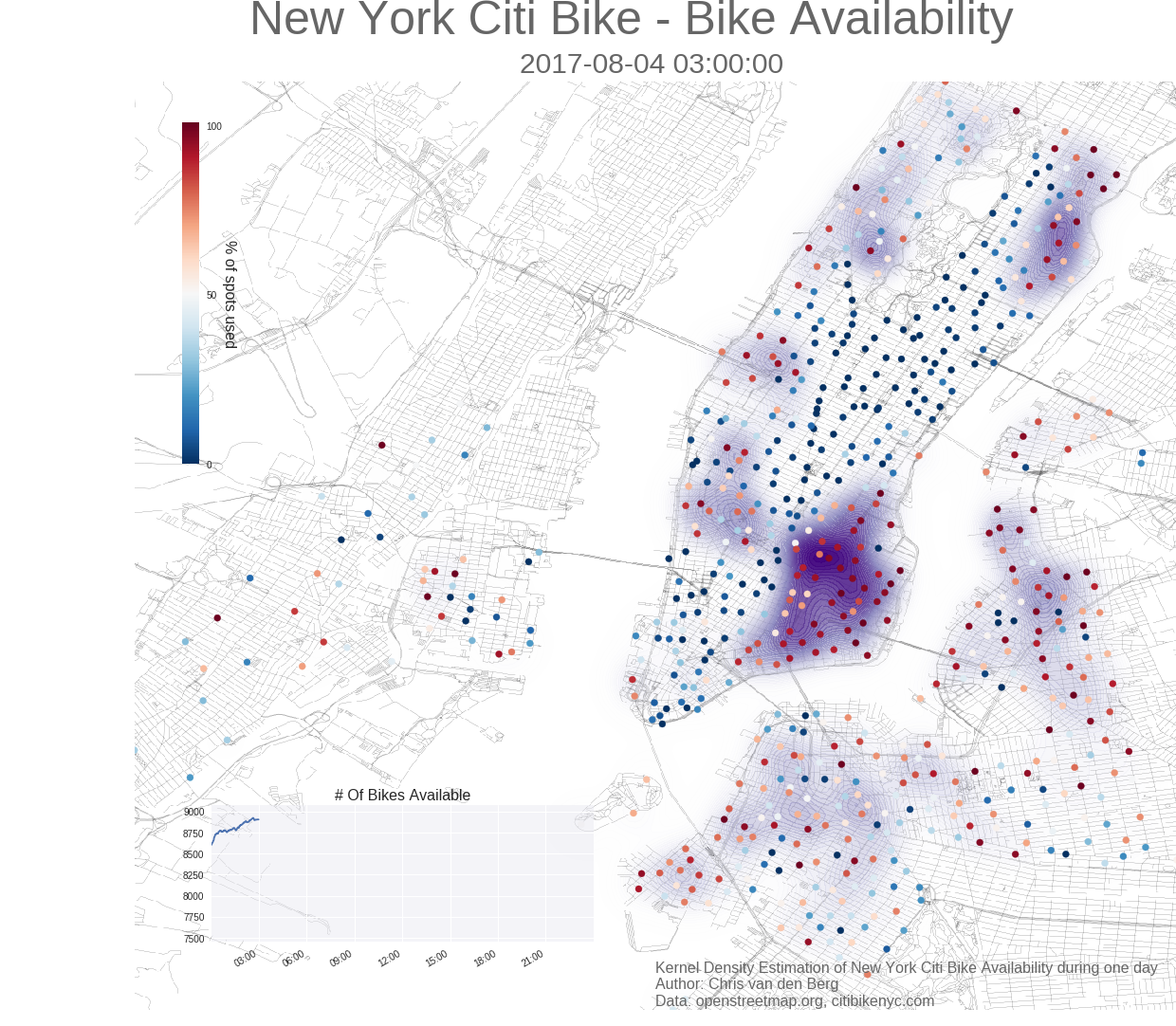 1 Day of Citi Bike availability Citi Bike New York Map on new york pedestrians, new york bike map, new york bike commuter, new york bike sharing,